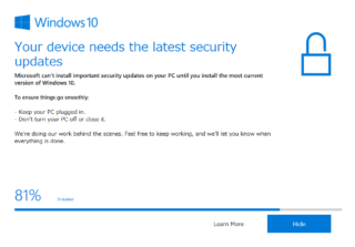 Windows10 Your device needs the latest sequrity updates とは?